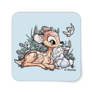 Bambi & Thumper Sitting In The Flowers Square Sticker
