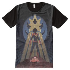 Captain Marvel | Art Deco Airforce Graphic All-Over-Print Shirt