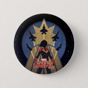 Captain Marvel   Art Deco Airforce Graphic Button