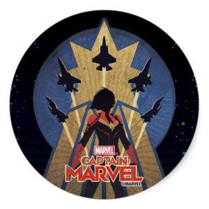Captain Marvel | Art Deco Airforce Graphic Classic Round Sticker