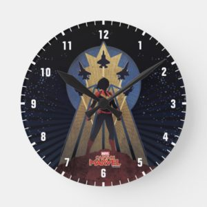 Captain Marvel | Art Deco Airforce Graphic Round Clock