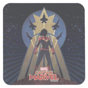 Captain Marvel | Art Deco Airforce Graphic Square Paper Coaster