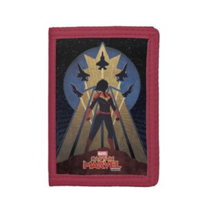 Captain Marvel   Art Deco Airforce Graphic Trifold Wallet