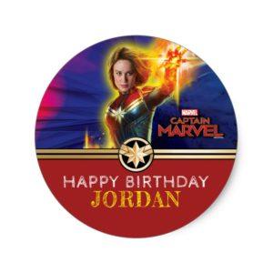 Captain Marvel   Birthday Classic Round Sticker