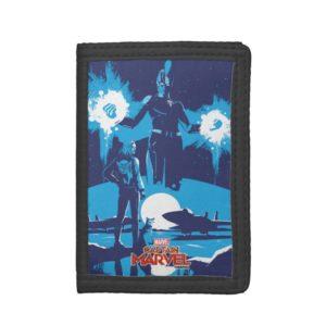 Captain Marvel | Blue Captain Marvel & Goose Scene Trifold Wallet