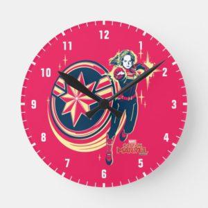 Captain Marvel   Captain Marvel Photon Fists Round Clock