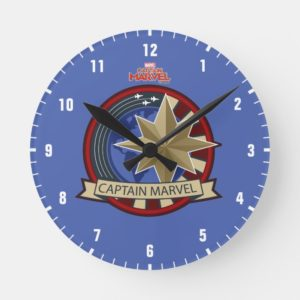 Captain Marvel | Captain Marvel US Military Badge Round Clock