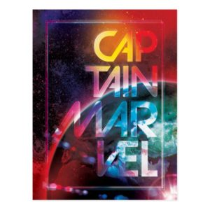 Captain Marvel   Colorful Planetary Horizon Postcard