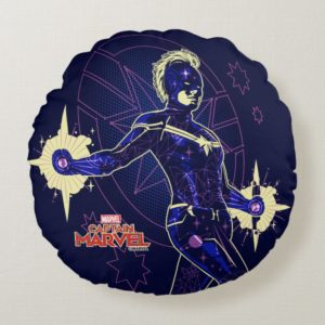 Captain Marvel | Constellation Character Art Round Pillow