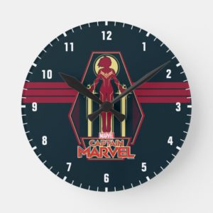Captain Marvel | Flying Character Badge Round Clock