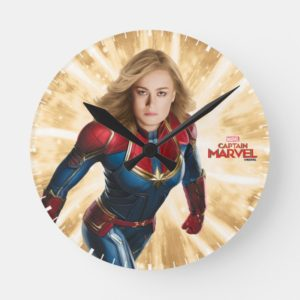 Captain Marvel | Flying Closeup Character Art Round Clock