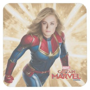 Captain Marvel | Flying Closeup Character Art Square Paper Coaster