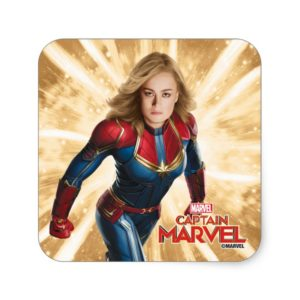 Captain Marvel | Flying Closeup Character Art Square Sticker