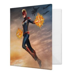 Captain Marvel | Flying With Energy Fists 3 Ring Binder