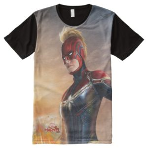 Captain Marvel   Flying With Energy Fists All-Over-Print Shirt