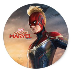 Captain Marvel   Flying With Energy Fists Classic Round Sticker