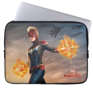 Captain Marvel | Flying With Energy Fists Computer Sleeve