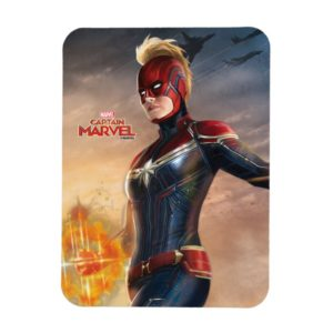 Captain Marvel | Flying With Energy Fists Magnet