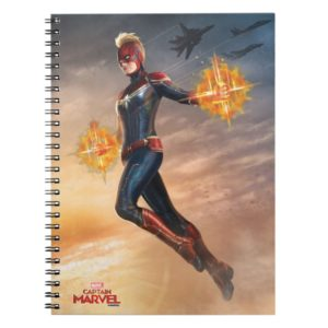 Captain Marvel | Flying With Energy Fists Notebook