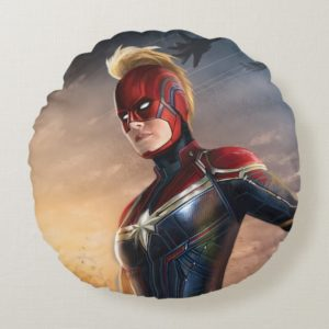 Captain Marvel   Flying With Energy Fists Round Pillow