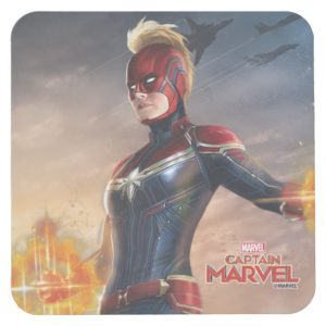 Captain Marvel | Flying With Energy Fists Square Paper Coaster