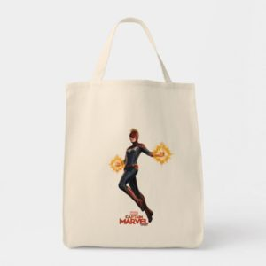Captain Marvel   Flying With Energy Fists Tote Bag