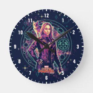 Captain Marvel | Galactic Goose & Carol Graphic Round Clock