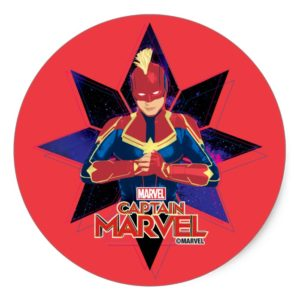 Captain Marvel   Galactic Star Character Graphic Classic Round Sticker