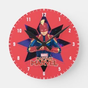 Captain Marvel   Galactic Star Character Graphic Round Clock