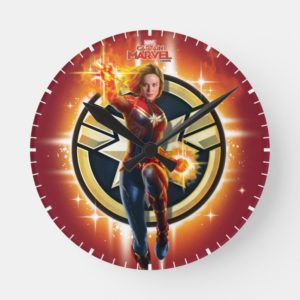 Captain Marvel | Glowing Photon Energy Round Clock