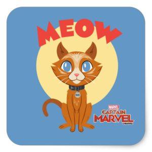 "Captain Marvel | Goose ""Meow"" Illustration Square Sticker"