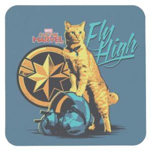 "Captain Marvel | Goose on Helmet ""Fly High"" Square Paper Coaster"