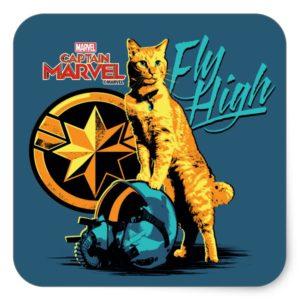 """Captain Marvel   Goose on Helmet """"Fly High"""" Square Sticker"""