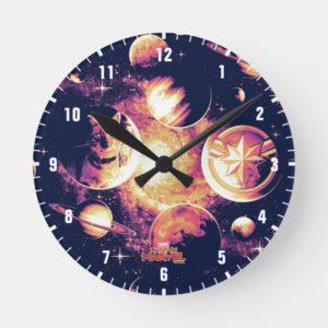 Captain Marvel | Goose Planetary Pattern Round Clock