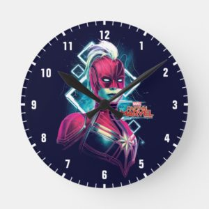 Captain Marvel | High Tech Glowing Character Art Round Clock