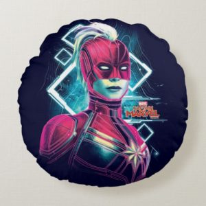 Captain Marvel   High Tech Glowing Character Art Round Pillow