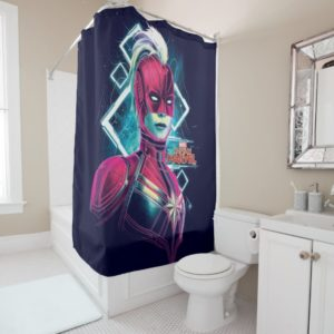 Captain Marvel | High Tech Glowing Character Art Shower Curtain