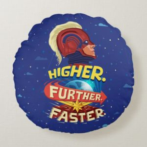 Captain Marvel   Higher, Further, Faster Round Pillow