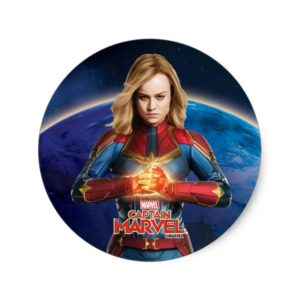 Captain Marvel | Holding Fist Character Art Classic Round Sticker