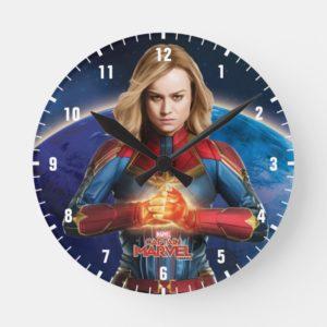 Captain Marvel | Holding Fist Character Art Round Clock