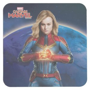 Captain Marvel | Holding Fist Character Art Square Paper Coaster
