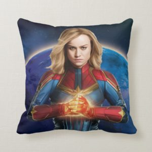 Captain Marvel   Holding Fist Character Art Throw Pillow