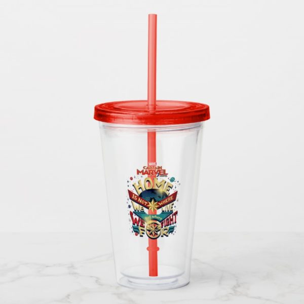 Captain Marvel | Home Is Not Where We Live Acrylic Tumbler