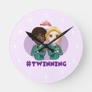 Captain Marvel   Maria & Carol #Twinning Cartoon Round Clock