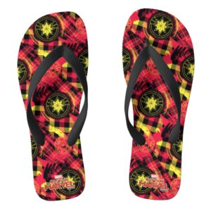Captain Marvel | Plaid Logo Pattern Flip Flops