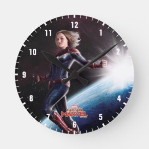 Captain Marvel | Protecting The Planet Round Clock