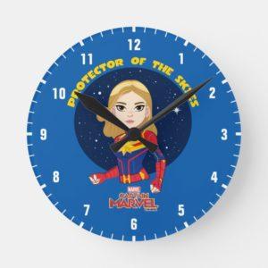 Captain Marvel | Protector Of The Skies Cartoon Round Clock