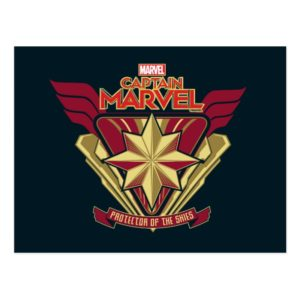 Captain Marvel | Protector Of The Skies Star Badge Postcard