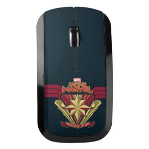 Captain Marvel   Protector Of The Skies Star Badge Wireless Mouse