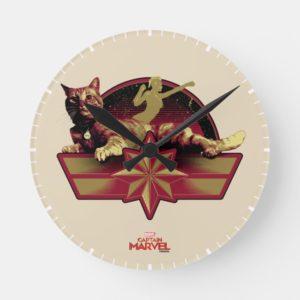 Captain Marvel   Reclining Goose Badge Round Clock